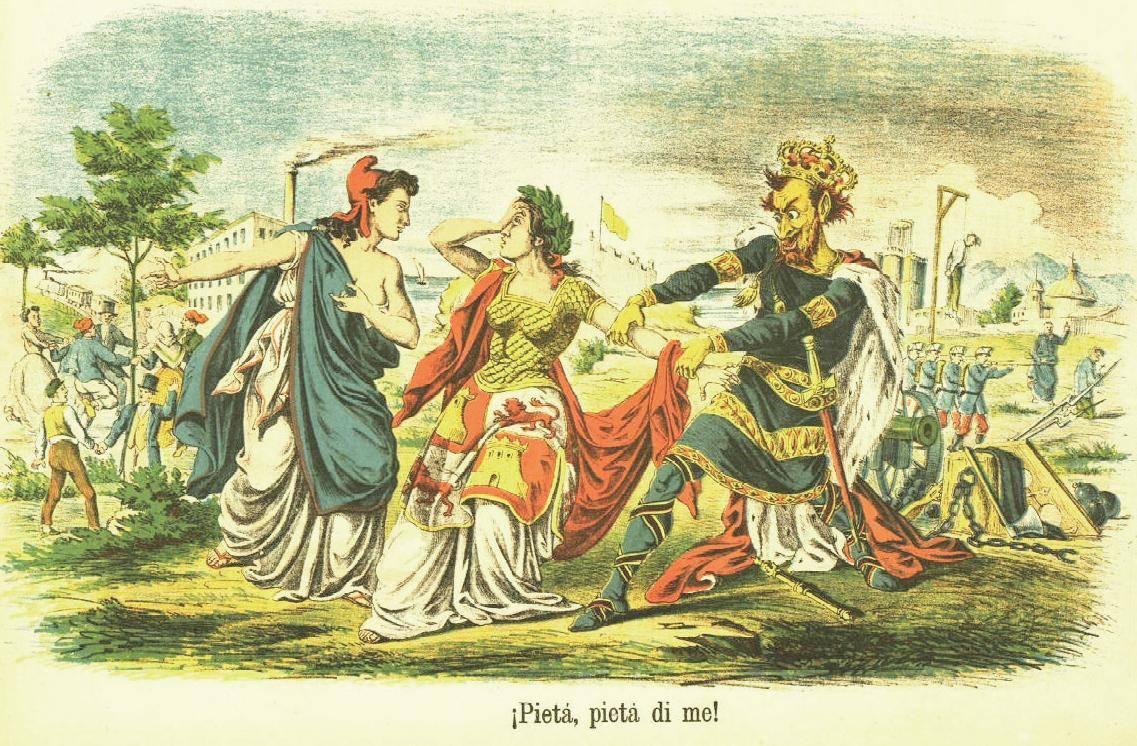 Alegoría de España indecisa entre la Monarquía y la República. Revista La Flaca, 15 de mayo de 1865