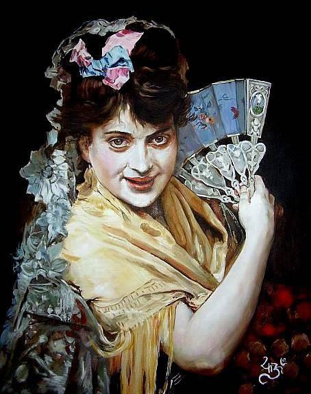 Dama del abanico, De Madrazo. Óleo sobre tabla 25x30
