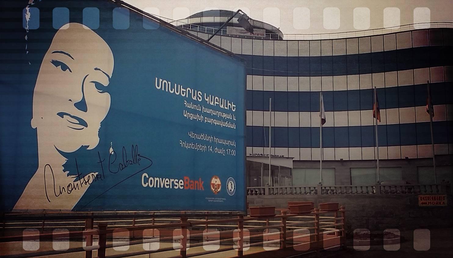 Enorme anuncio del Banco Nacional de Nagorno, que utiliza a la idolatrada Monserrat Caballé.