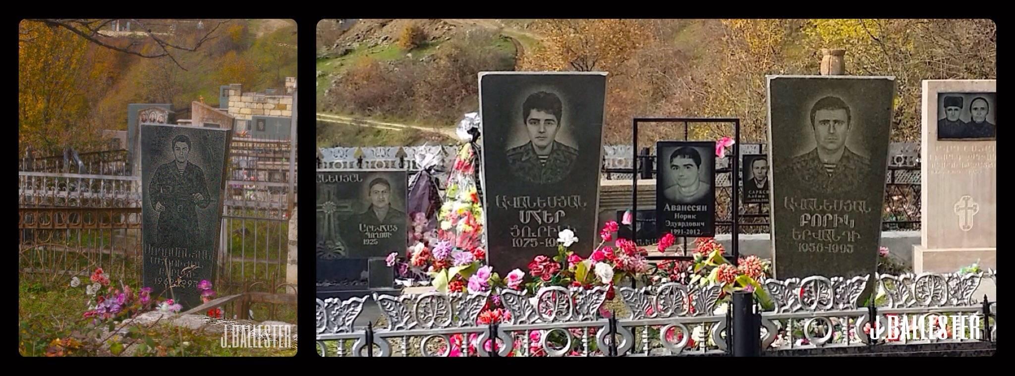 Los cementerios están repletos de jóvenes uniformados, algunos lucen sus Kalachnikov.
