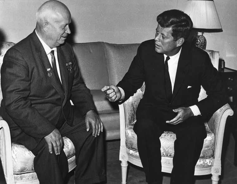 PX 96-33:12 03 June 1961 President Kennedy meets with Chairman Khrushchev at the U. S. Embassy residence, Vienna. U. S. Dept. of State photograph in the John Fitzgerald Kennedy Library, Boston.