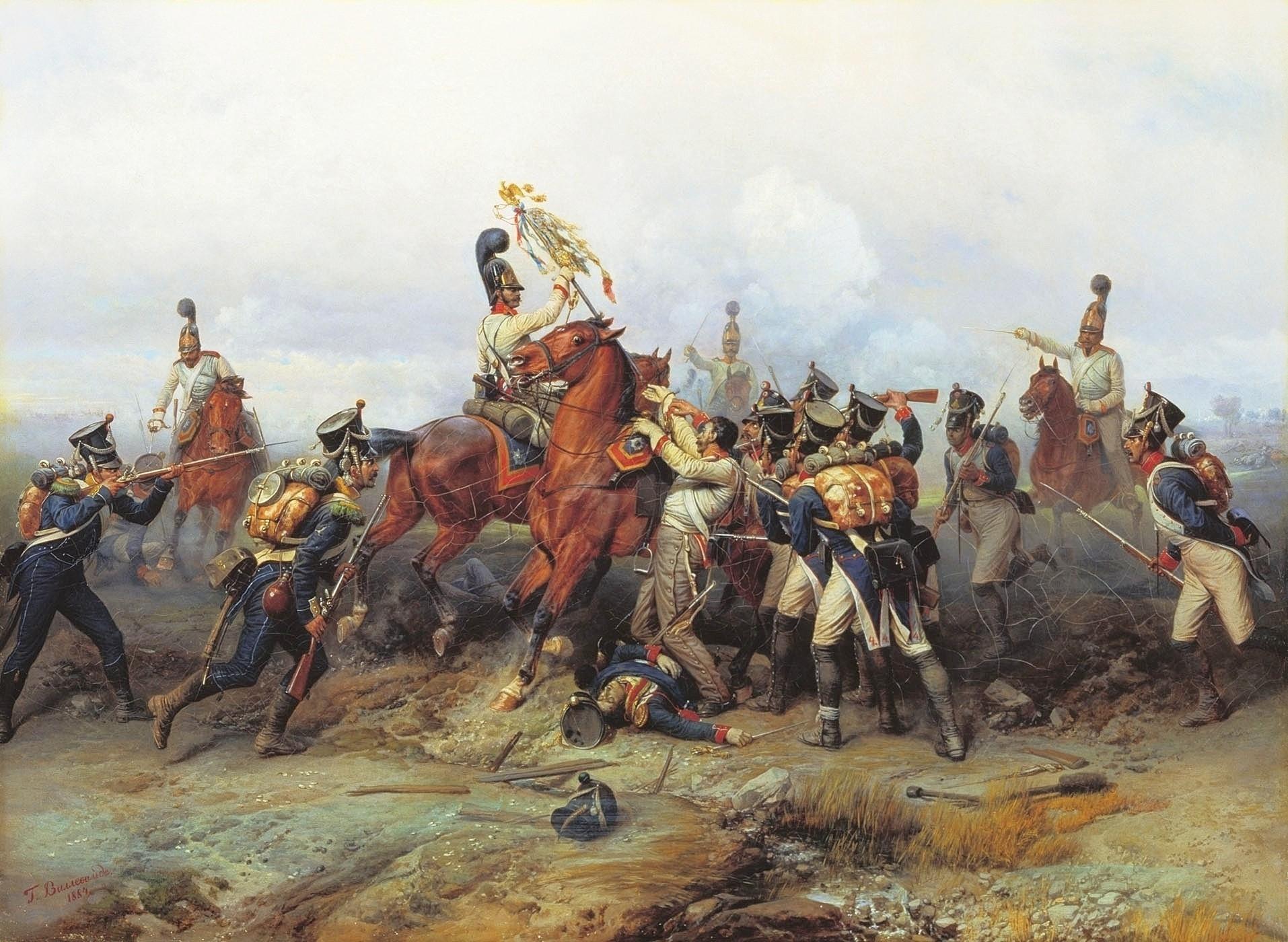 Willewalde_-_Czar's_Guard_capture_4th_line_regiment's_standard_at_Austerlitz