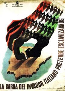 Un cartel republicano que denuncia la intervención de la Italia fascista en la Guerra Civil. Wikipedia