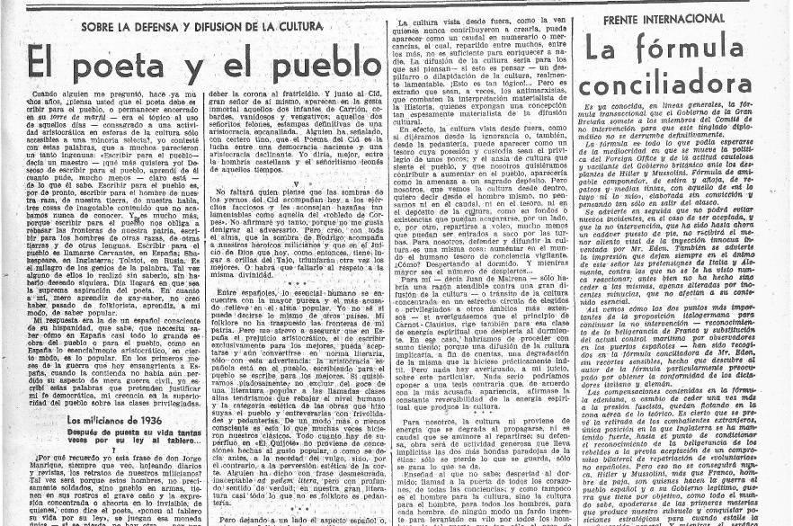 """Ejemplar de La Vanguardia en el que se llama a Machado """"poeta del pueblo"""""""