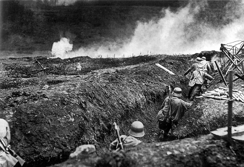 Trincheras alemanas durante la I Guerra Mundial.