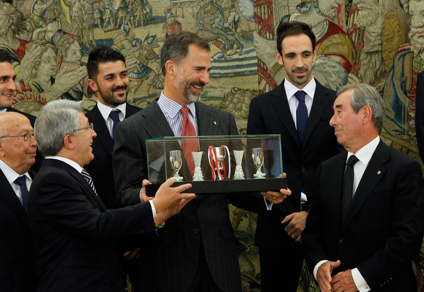 Felipe VI en una recepción al Atlético de Madrid.
