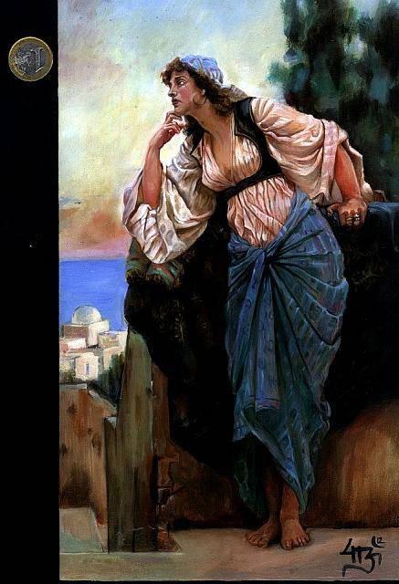 """Odalisca"" Ernest Normand 23x15 cm oleo sobre tabla"