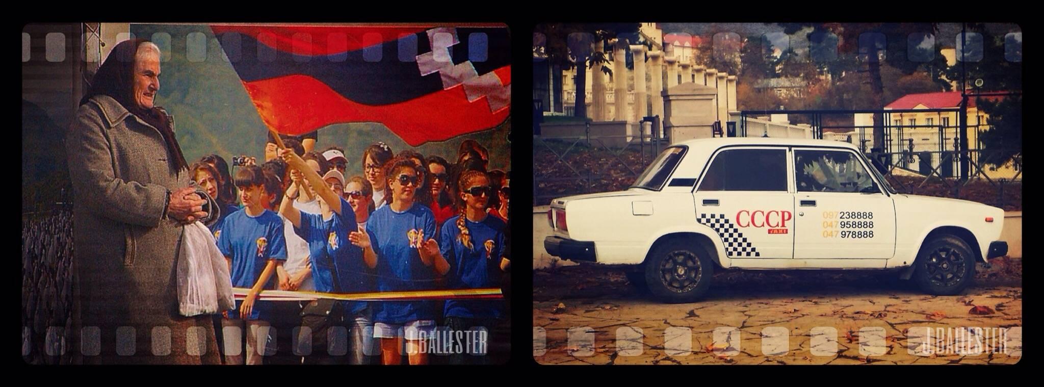 Los símbolos de exaltación nacional forman parte del paisaje habitual de Nagorno/ taxi que sigue con el indicativo de la antigua URSS.