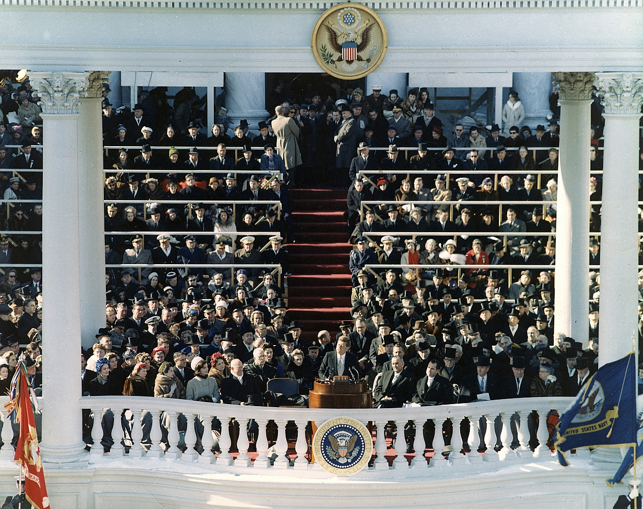 """Inaugural Address of John F. Kennedy, 35th President of the United States. Washington, DC 20 January 1961. Please credit """"U. S. Army Signal Corps photograph in the John Fitzgerald Kennedy Library, Boston""""."""